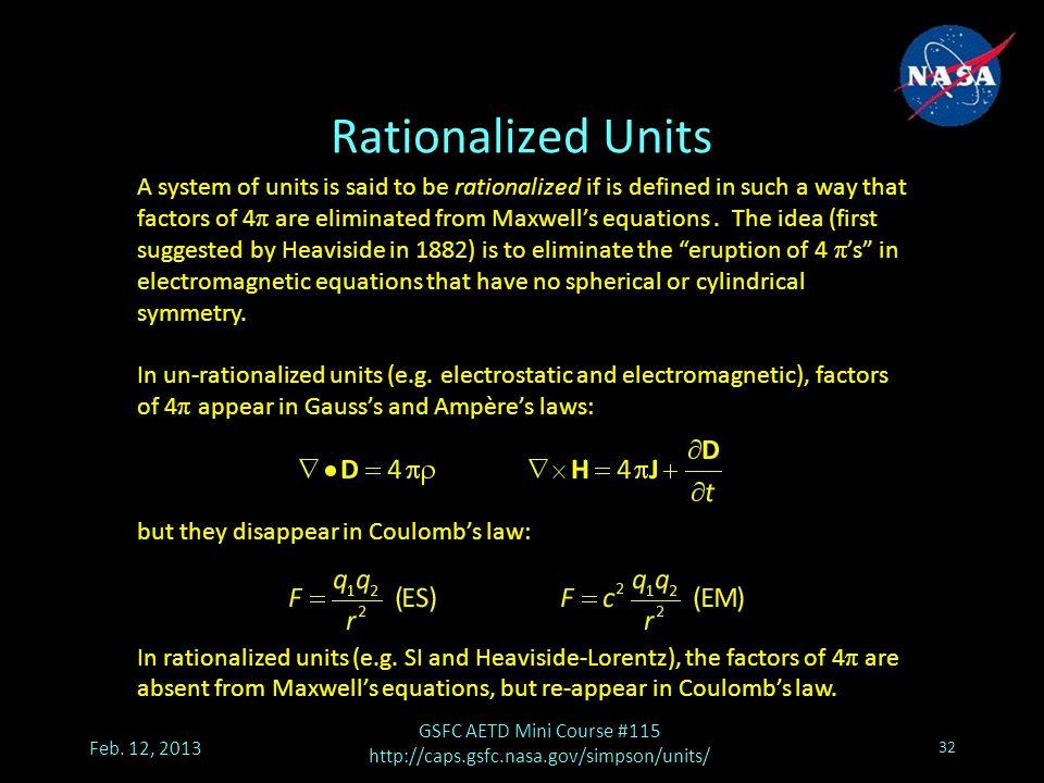 Rationalized Units Feb.