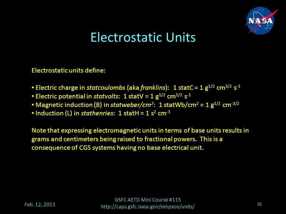 Electrostatic Units Feb.