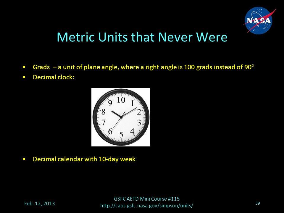 Metric Units that Never Were Feb.