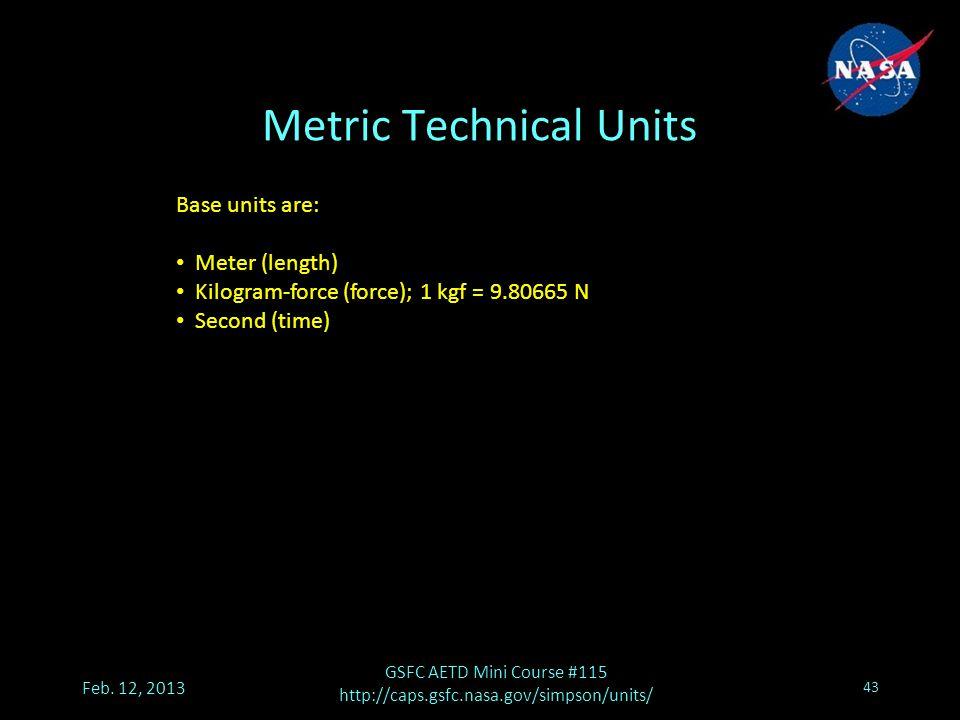 Metric Technical Units Feb.