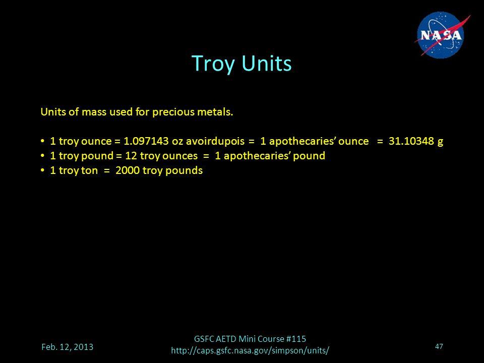 Troy Units Feb.