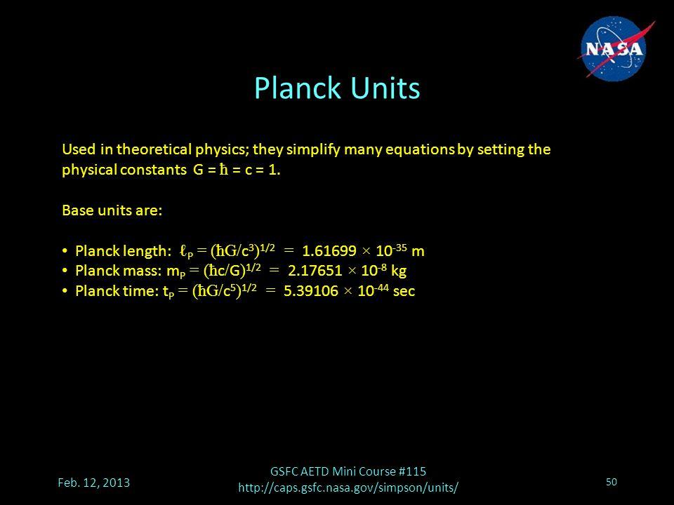 Planck Units Feb.