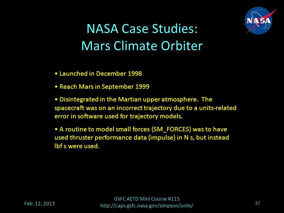 NASA Case Studies: Mars Climate Orbiter Feb.