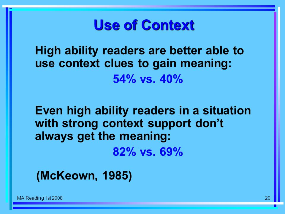 MA Reading 1st 2008 20 Use of Context High ability readers are better able to use context clues to gain meaning: 54% vs.