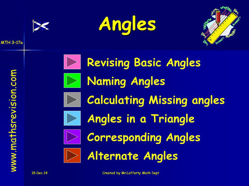 18-Dec-14Created by Mr.Lafferty Math Dept Revising Basic Angles Naming Angles www.mathsrevision.com Calculating Missing angles Angles in a Triangle Corresponding Angles Alternate Angles Angles MTH 3-17a