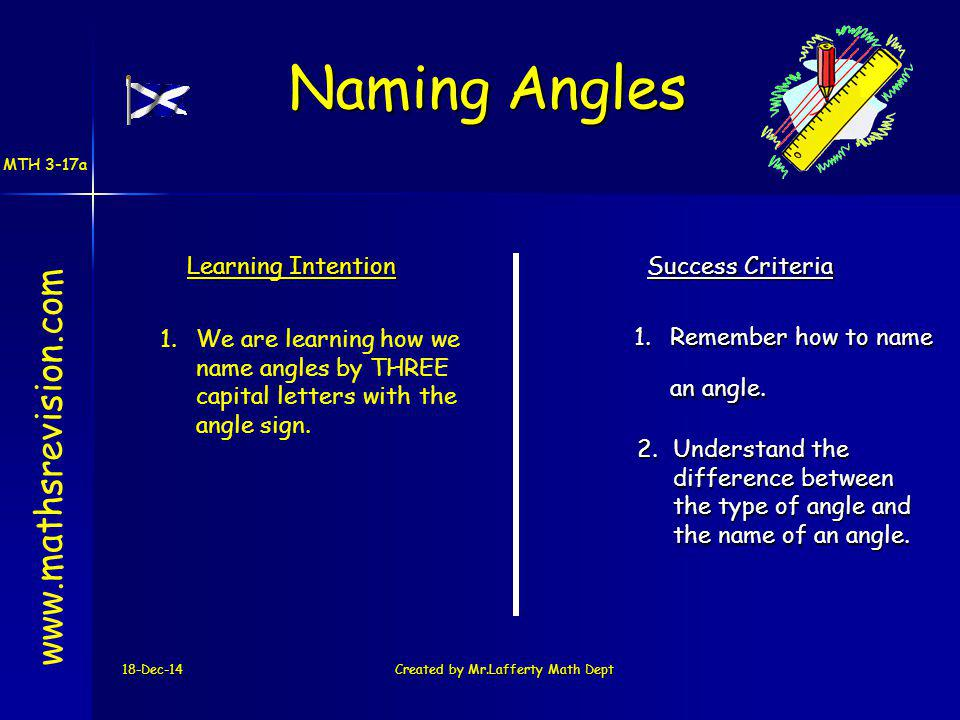 18-Dec-14Created by Mr.Lafferty Math Dept Learning Intention Success Criteria 1.Remember how to name an angle.