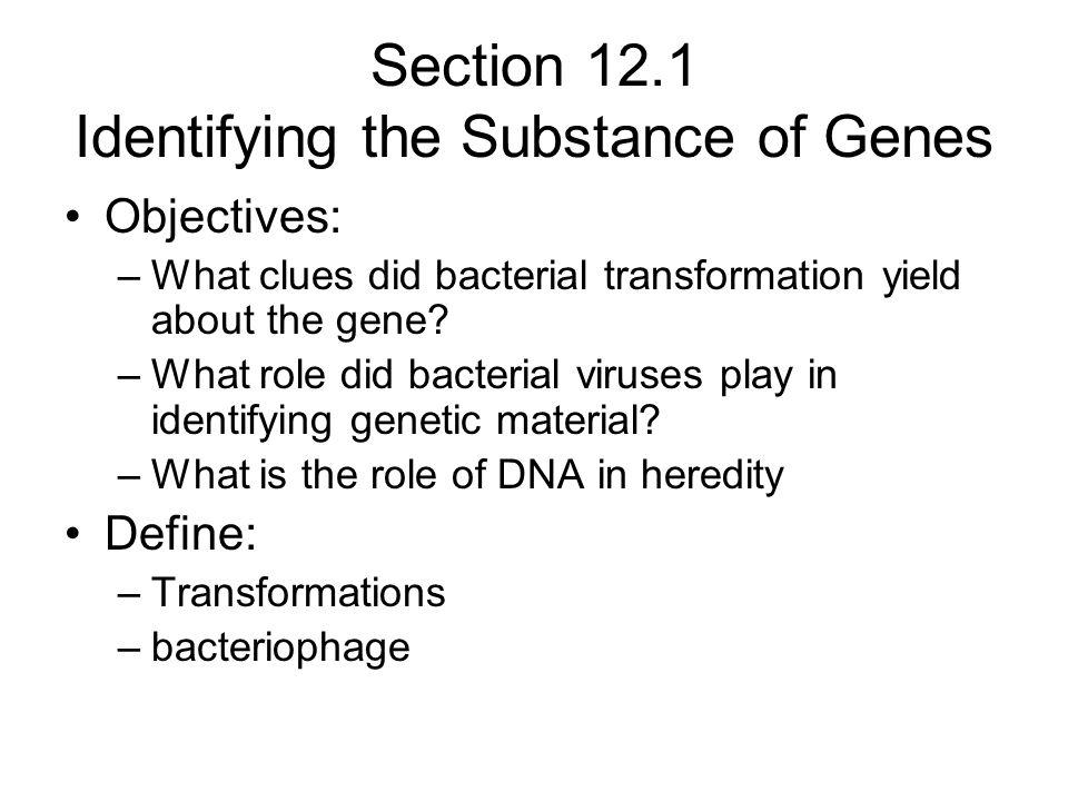 Section 12.1 Identifying the Substance of Genes Objectives: –What clues did bacterial transformation yield about the gene? –What role did bacterial vi