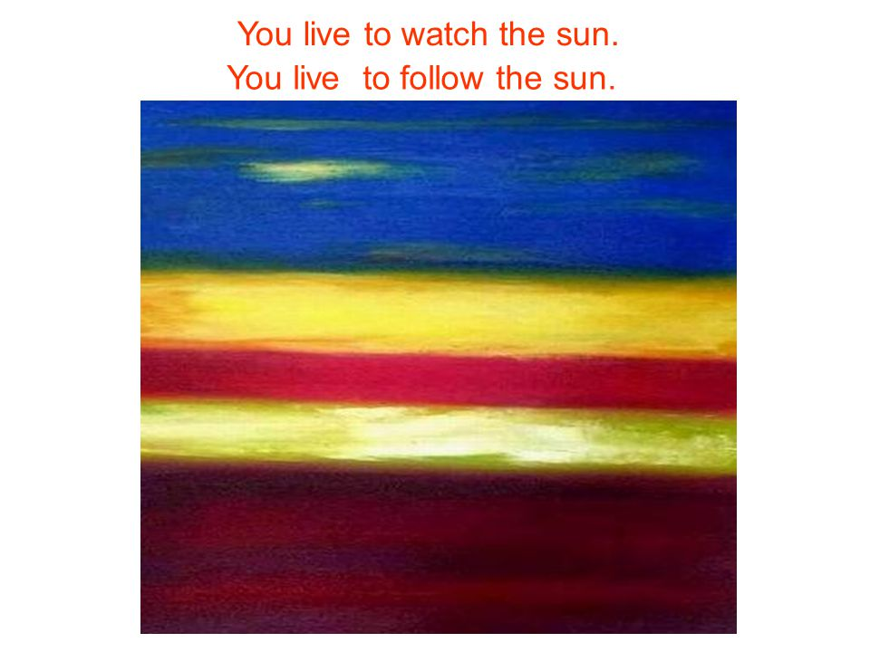 You live to watch the sun. You live to follow the sun.