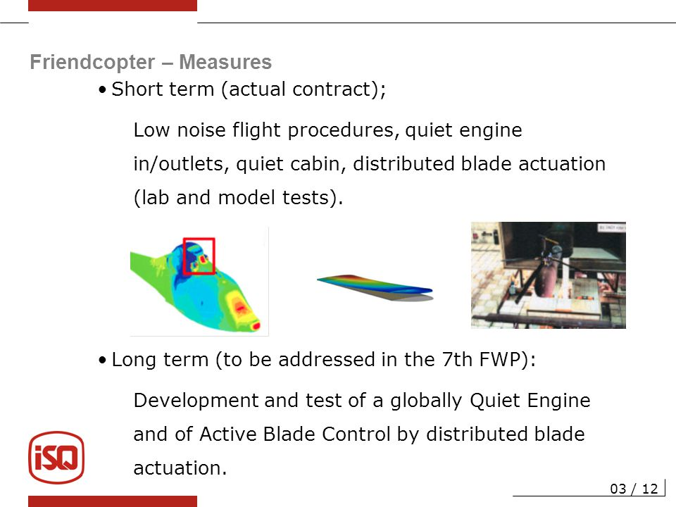 Friendcopter – Project Structure WP1 Specifications 04 / 12 WP2 Noise Abatement Flight Procedures WP3 Engine Noise Reduction WP4 Cabin Noise Reduction WP5 Rotor Noise Control WP6 Exploitation Coordinator/Management