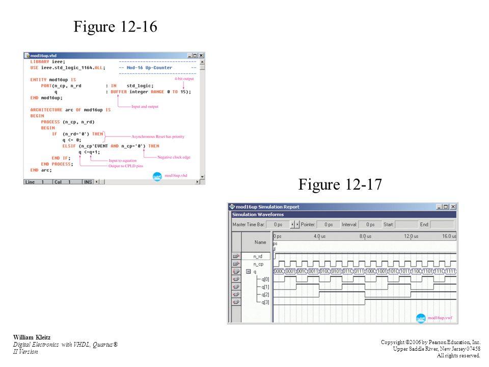 Figure 12-16 Figure 12-17 William Kleitz Digital Electronics with VHDL, Quartus® II Version Copyright ©2006 by Pearson Education, Inc. Upper Saddle Ri