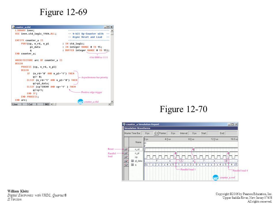 Figure 12-69 Figure 12-70 William Kleitz Digital Electronics with VHDL, Quartus® II Version Copyright ©2006 by Pearson Education, Inc. Upper Saddle Ri