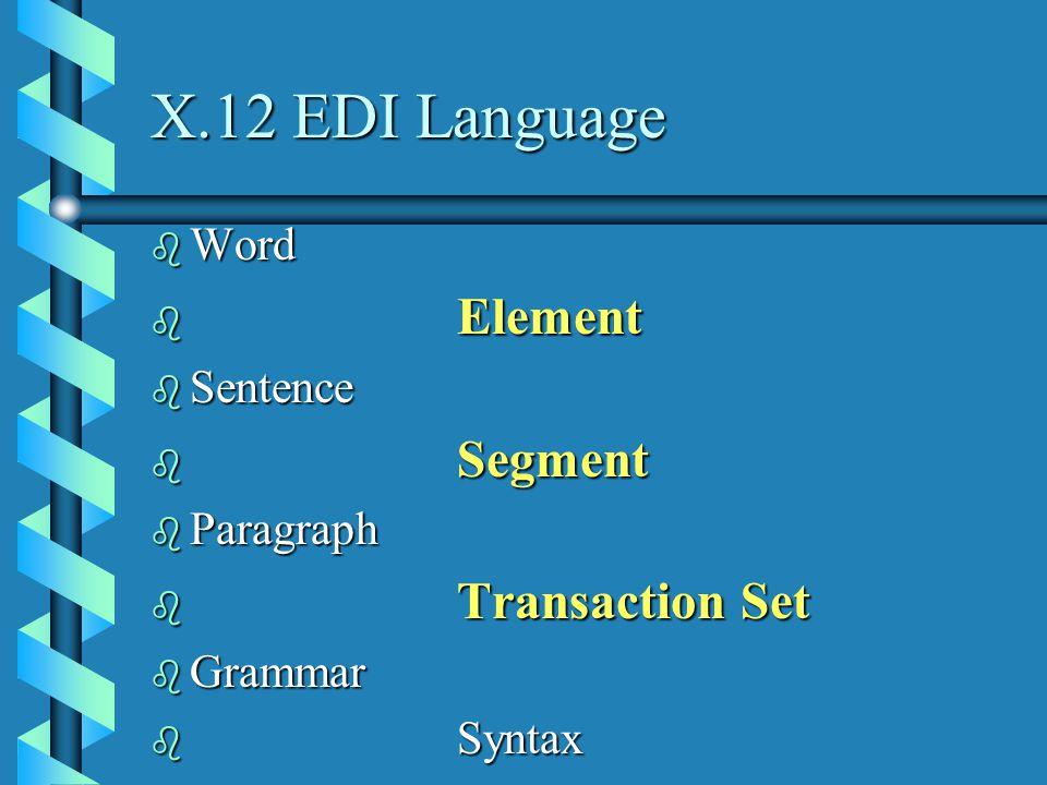 X.12 EDI Language b Word b Element b Sentence b Segment b Paragraph b Transaction Set b Grammar b Syntax