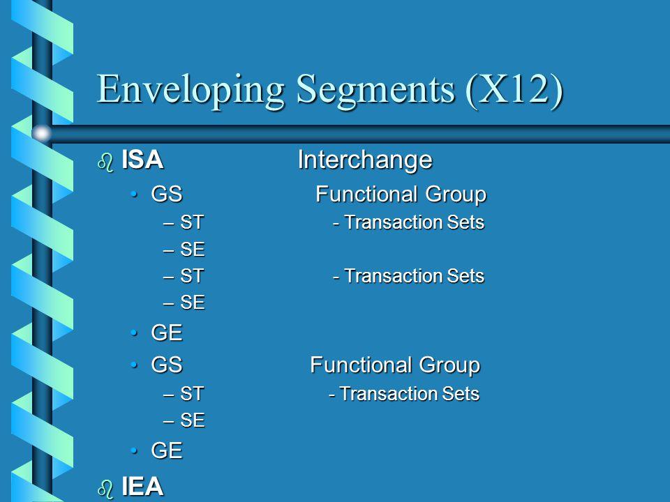 Enveloping Segments (X12) b ISAInterchange GS Functional GroupGS Functional Group –ST - Transaction Sets –SE –ST - Transaction Sets –SE GEGE GS Functional GroupGS Functional Group –ST - Transaction Sets –SE GEGE b IEA