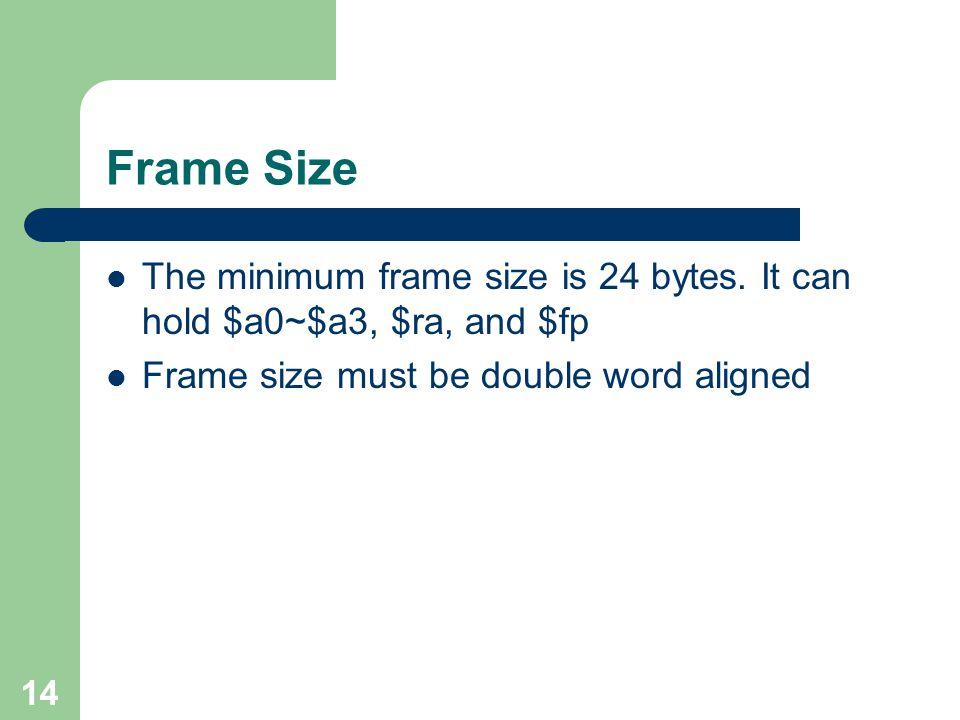 14 Frame Size The minimum frame size is 24 bytes.