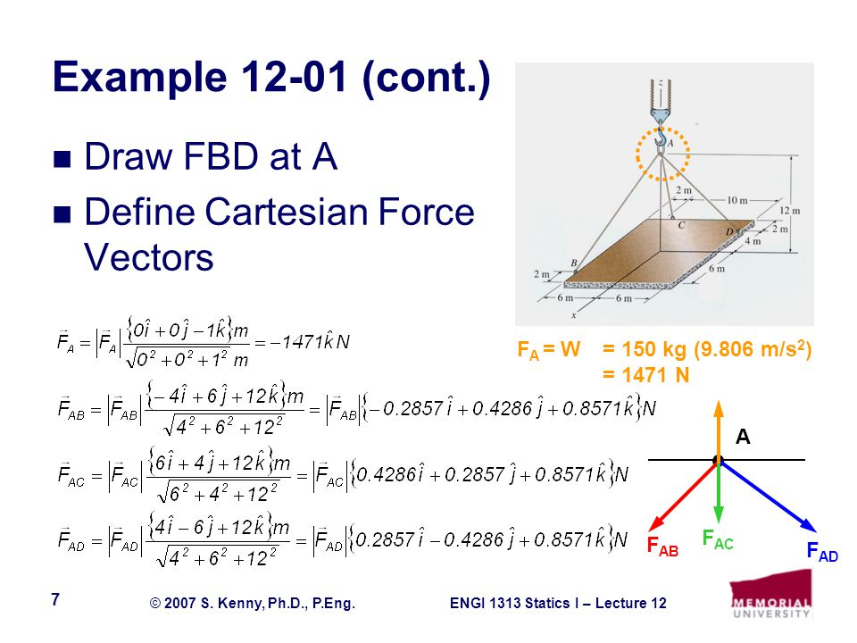 ENGI 1313 Statics I – Lecture 12© 2007 S.Kenny, Ph.D., P.Eng.