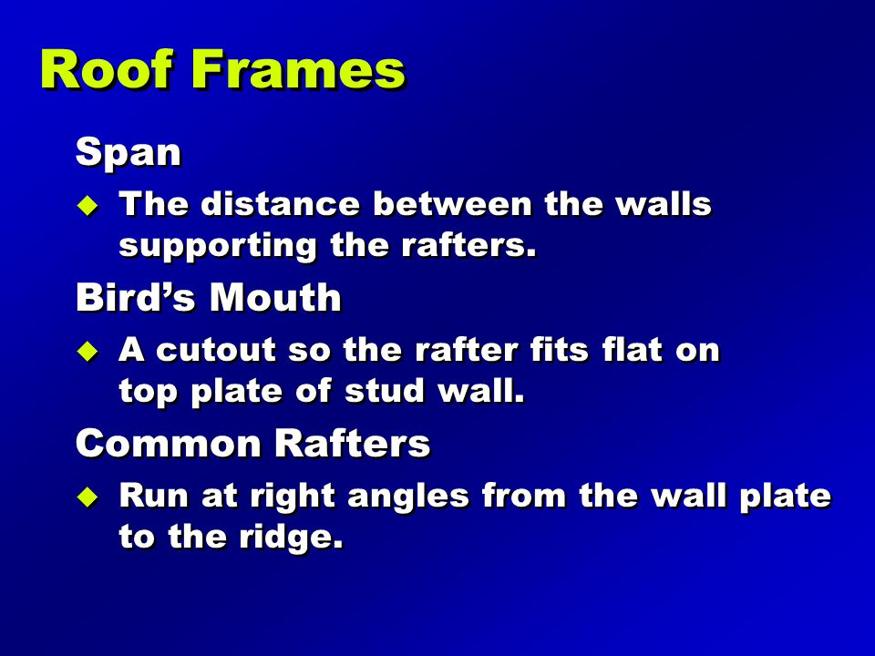 Span  The distance between the walls supporting the rafters.
