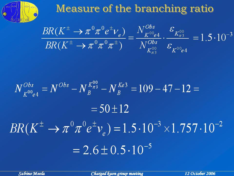 Sabino Meola Charged kaon group meeting 12 October 2006 Measure of the branching ratio