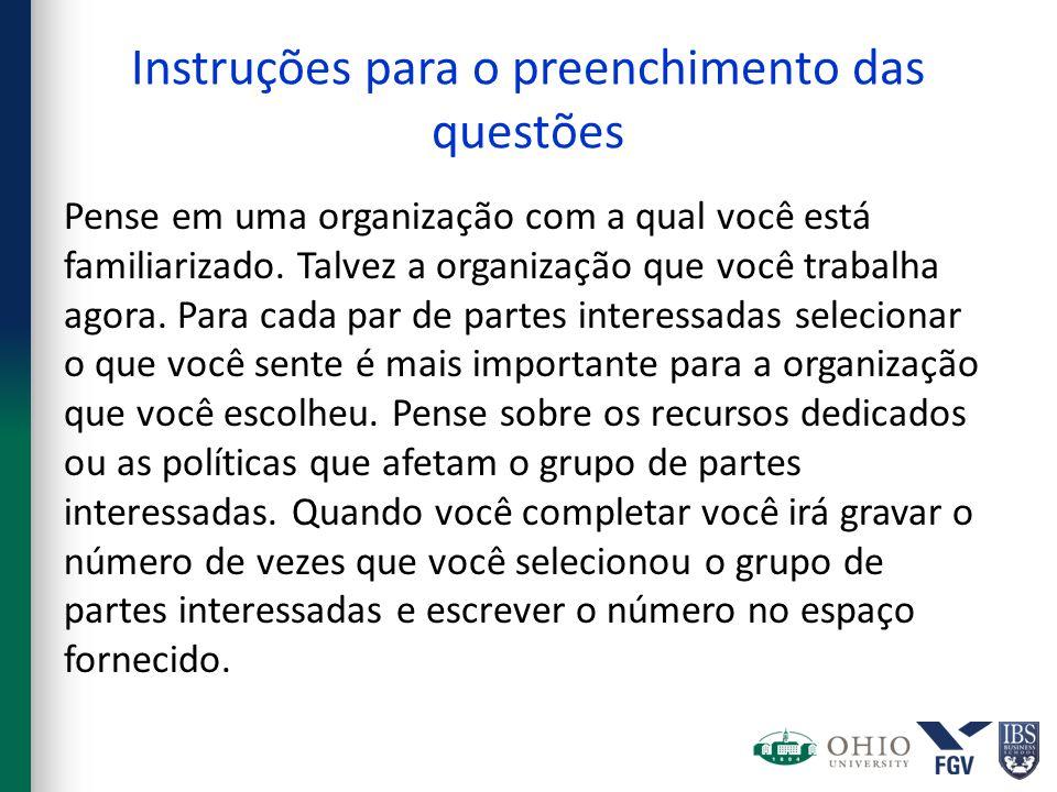 Instruções para o preenchimento das questões Pense em uma organização com a qual você está familiarizado.