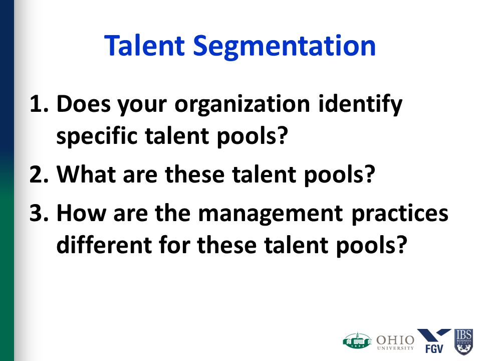 Talent Segmentation 1.Does your organization identify specific talent pools? 2.What are these talent pools? 3.How are the management practices differe