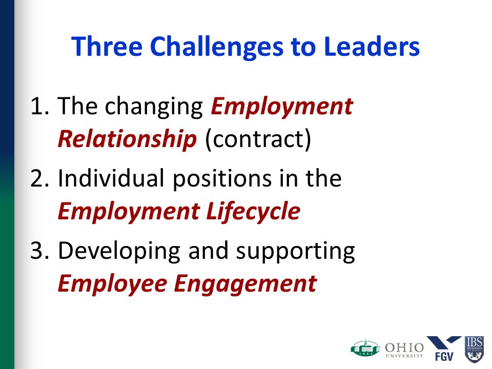 Three Challenges to Leaders 1.The changing Employment Relationship (contract) 2.Individual positions in the Employment Lifecycle 3.Developing and supp