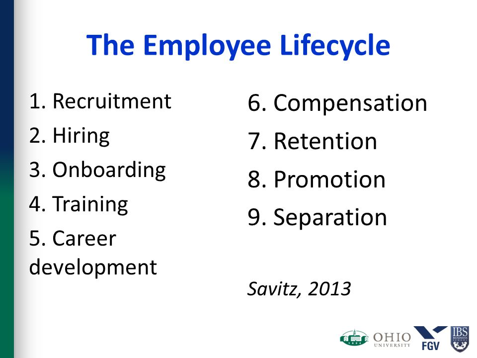 The Employee Lifecycle 1. Recruitment 2. Hiring 3. Onboarding 4. Training 5. Career development 6. Compensation 7. Retention 8. Promotion 9. Separatio