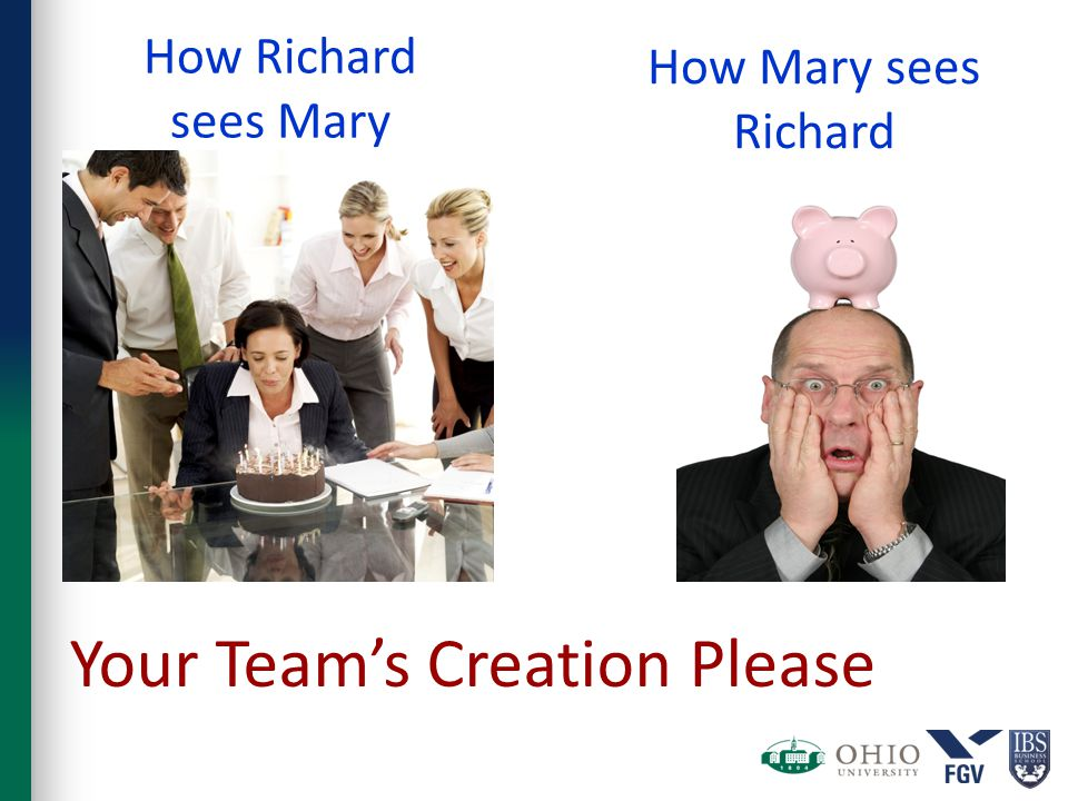 How Richard sees Mary How Mary sees Richard Your Team's Creation Please