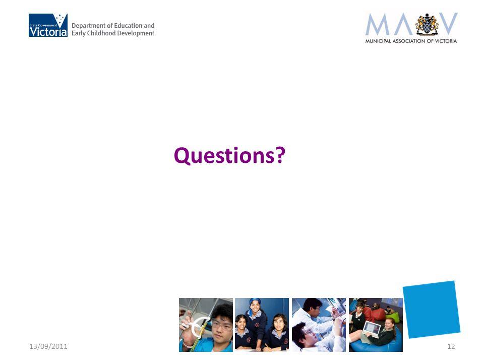 Questions? 13/09/201112