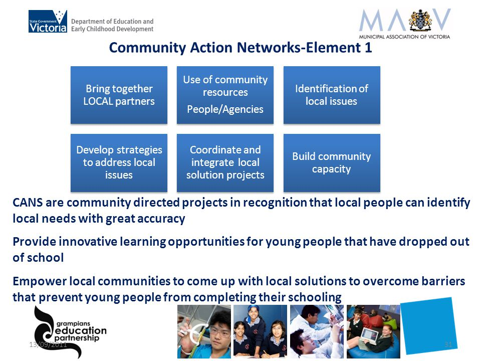 CANS are community directed projects in recognition that local people can identify local needs with great accuracy Provide innovative learning opportunities for young people that have dropped out of school Empower local communities to come up with local solutions to overcome barriers that prevent young people from completing their schooling Community Action Networks-Element 1 Bring together LOCAL partners Use of community resources People/Agencies Identification of local issues Develop strategies to address local issues Coordinate and integrate local solution projects Build community capacity 13/09/201131
