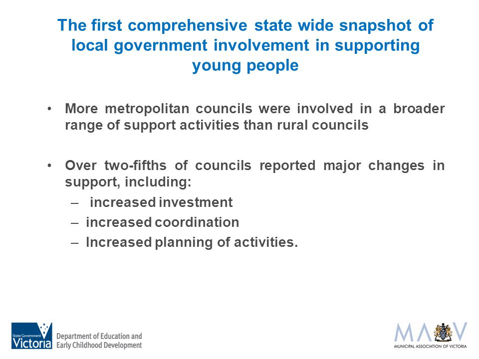 The first comprehensive state wide snapshot of local government involvement in supporting young people More metropolitan councils were involved in a broader range of support activities than rural councils Over two-fifths of councils reported major changes in support, including: – increased investment –increased coordination –Increased planning of activities.