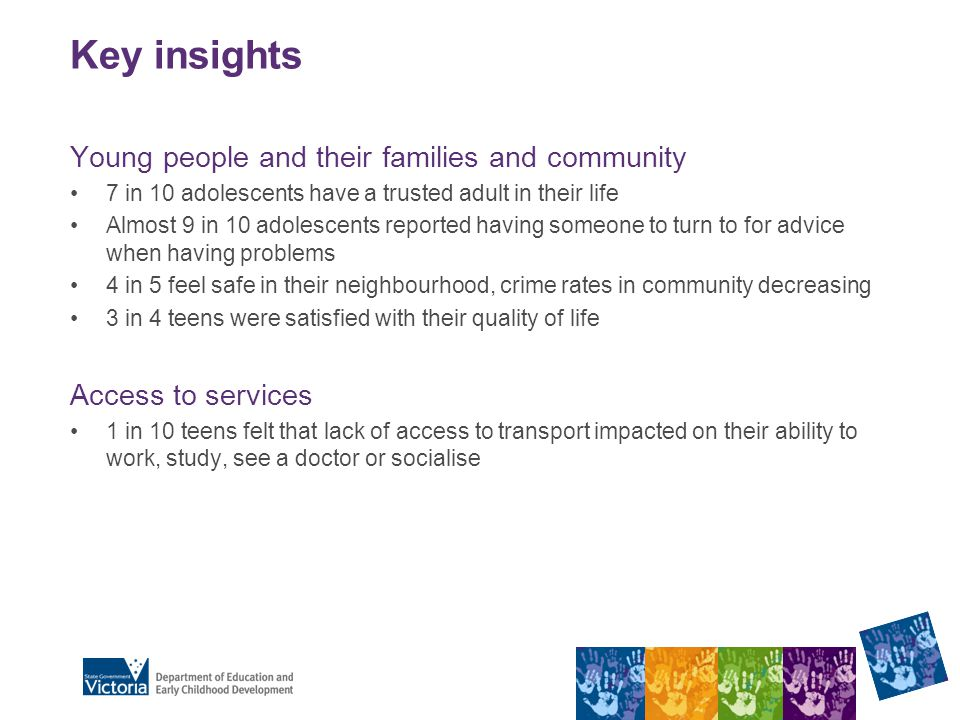 Key insights Young people and their families and community 7 in 10 adolescents have a trusted adult in their life Almost 9 in 10 adolescents reported having someone to turn to for advice when having problems 4 in 5 feel safe in their neighbourhood, crime rates in community decreasing 3 in 4 teens were satisfied with their quality of life Access to services 1 in 10 teens felt that lack of access to transport impacted on their ability to work, study, see a doctor or socialise