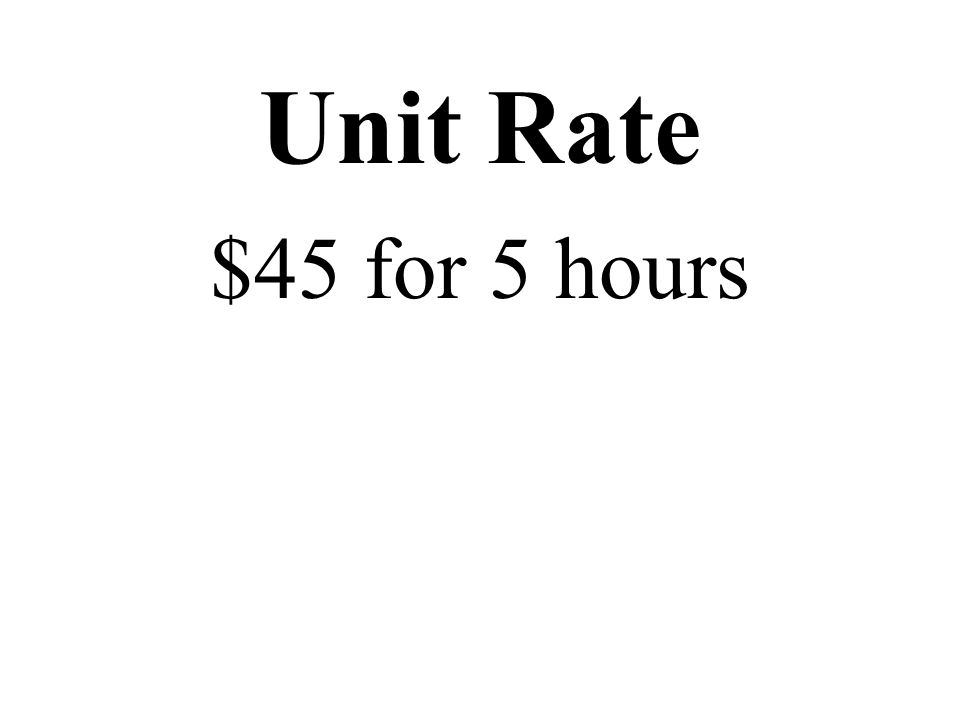 Unit Rate $45 for 5 hours