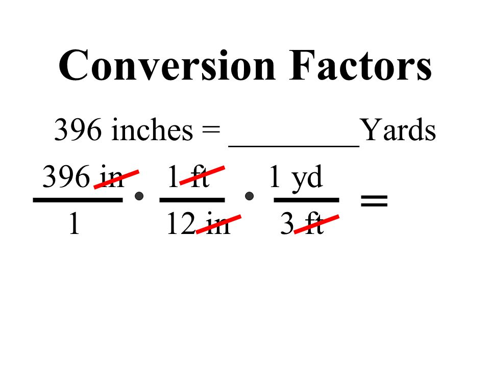Conversion Factors 396 inches = ________Yards 396 in 1 ft 1 yd 1 12 in 3 ft =
