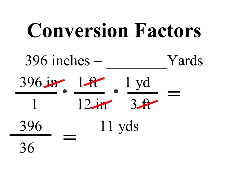 Conversion Factors 396 inches = ________Yards 396 in 1 ft 1 yd 1 12 in 3 ft 396 11 yds 36 = =