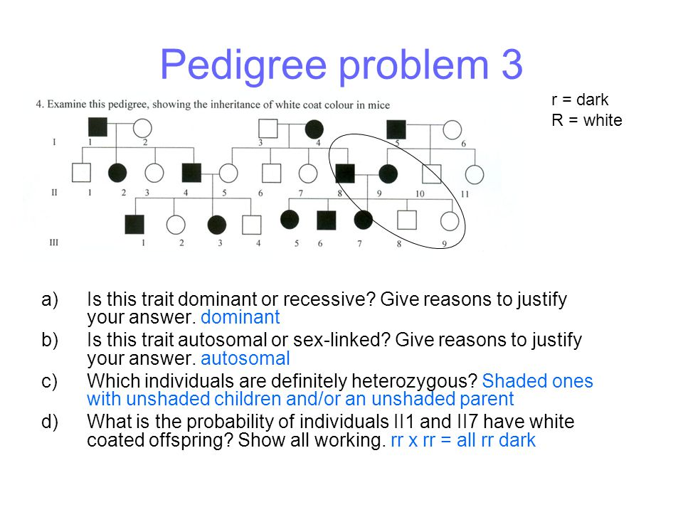 Pedigree problem 3 a)Is this trait dominant or recessive? Give reasons to justify your answer. dominant b)Is this trait autosomal or sex-linked? Give