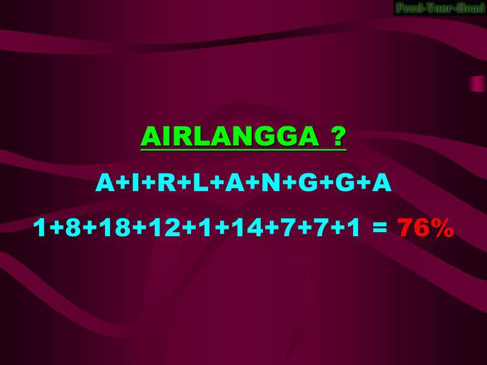 AIRLANGGA ? A+I+R+L+A+N+G+G+A 1+8+18+12+1+14+7+7+1 = 76%