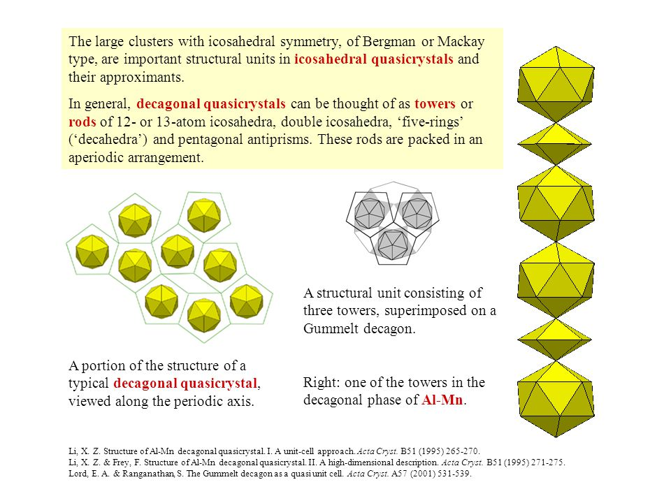 The large clusters with icosahedral symmetry, of Bergman or Mackay type, are important structural units in icosahedral quasicrystals and their approximants.