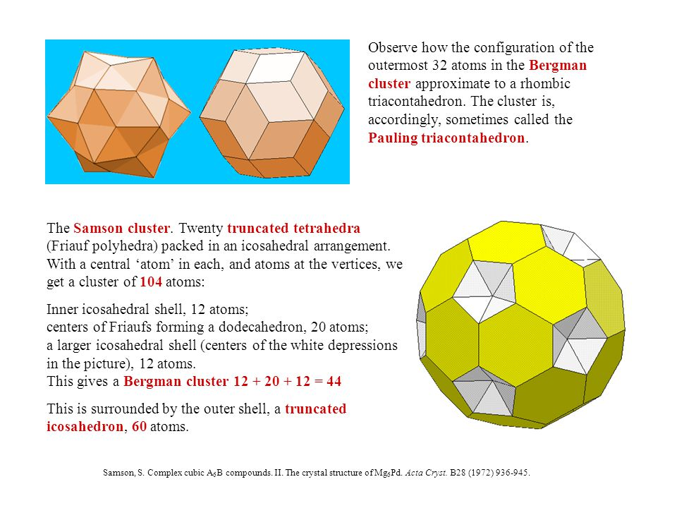 Observe how the configuration of the outermost 32 atoms in the Bergman cluster approximate to a rhombic triacontahedron.