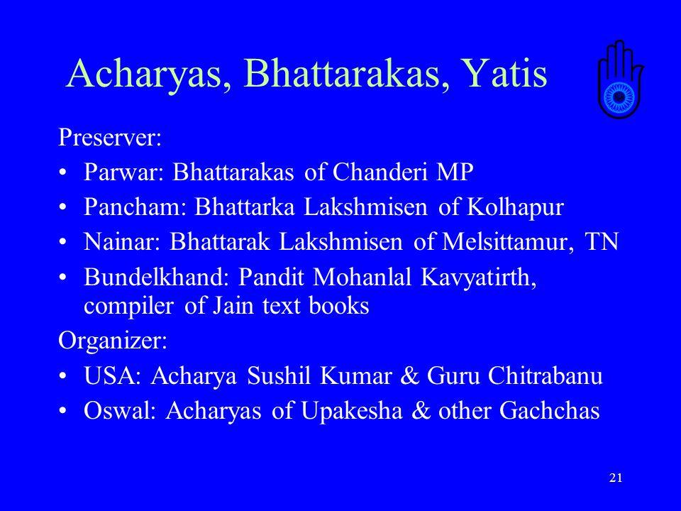 21 Acharyas, Bhattarakas, Yatis Preserver: Parwar: Bhattarakas of Chanderi MP Pancham: Bhattarka Lakshmisen of Kolhapur Nainar: Bhattarak Lakshmisen of Melsittamur, TN Bundelkhand: Pandit Mohanlal Kavyatirth, compiler of Jain text books Organizer: USA: Acharya Sushil Kumar & Guru Chitrabanu Oswal: Acharyas of Upakesha & other Gachchas