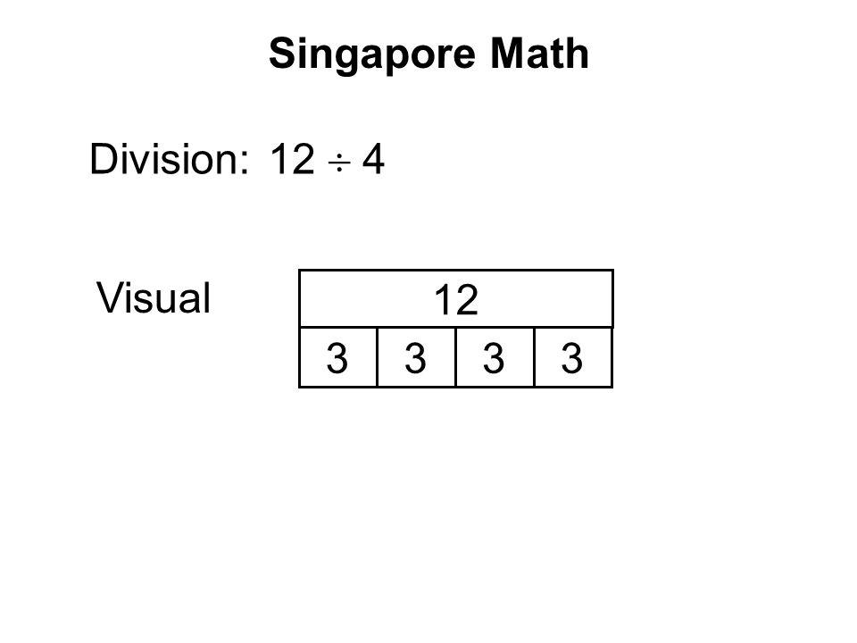 Singapore Math Division: Visual 12  4 3333 12