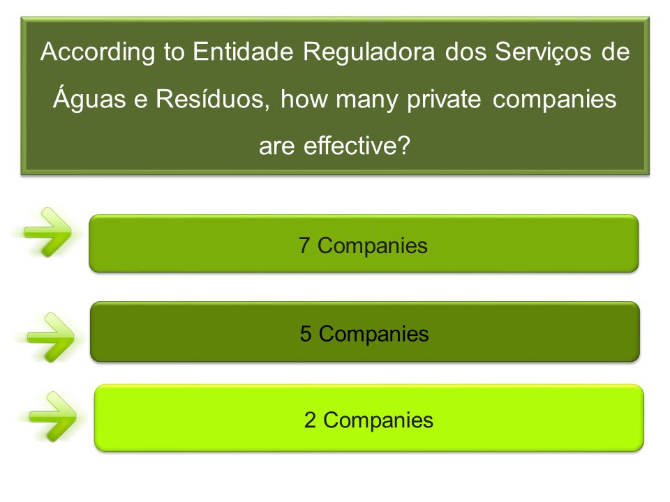 According to Entidade Reguladora dos Serviços de Águas e Resíduos, how many private companies are effective? 7 Companies 5 Companies 2 Companies