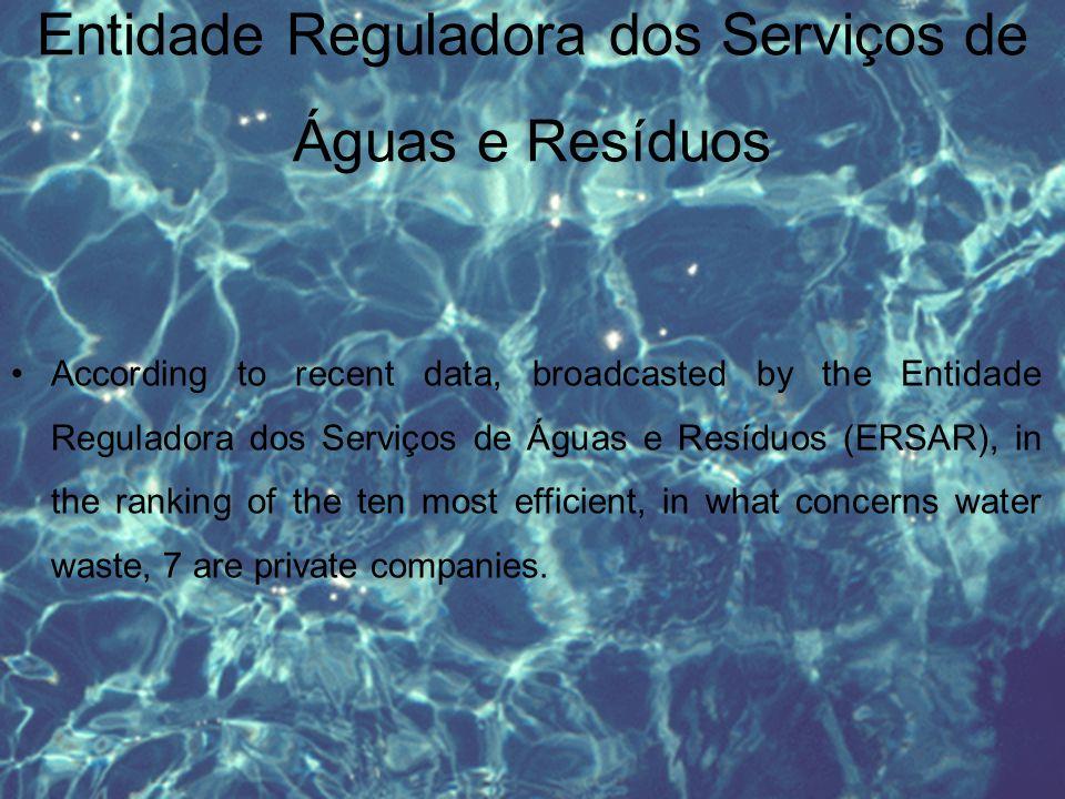 Entidade Reguladora dos Serviços de Águas e Resíduos According to recent data, broadcasted by the Entidade Reguladora dos Serviços de Águas e Resíduos (ERSAR), in the ranking of the ten most efficient, in what concerns water waste, 7 are private companies.