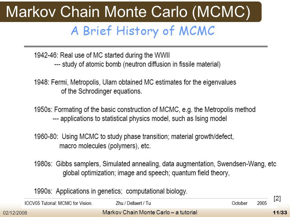 Markov Chain Monte Carlo – a tutorial 02/12/200811/33 Markov Chain Monte Carlo (MCMC) [2]
