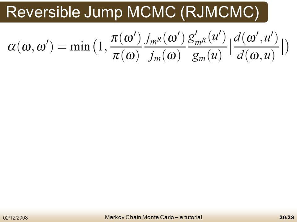 Markov Chain Monte Carlo – a tutorial 02/12/200830/33 Reversible Jump MCMC (RJMCMC)