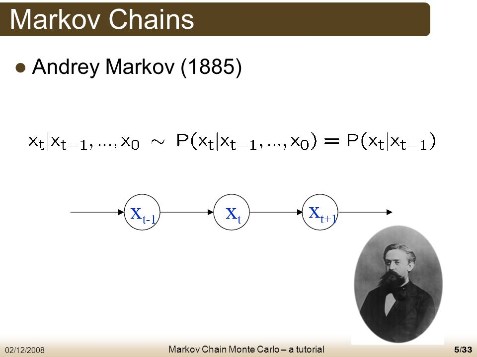 Markov Chain Monte Carlo – a tutorial 02/12/20086/33 Markov Chains To define a Markov chain you need Set of states (D) / domain (C) Transition matrix (D) / transition probability (C) Length of the Markov chain – n Starting state (s 0 )