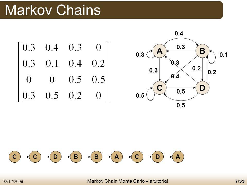 Markov Chain Monte Carlo – a tutorial 02/12/20087/33 Markov Chains AB CD 0.4 0.3 0.1 0.5 0.2 0.3 0.4 0.5 0.3 CCDBBACDA