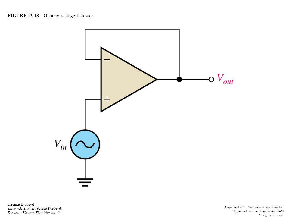 FIGURE 12-18 Op-amp voltage-follower. Thomas L. Floyd Electronic Devices, 6e and Electronic Devices: Electron Flow Version, 4e Copyright ©2002 by Pear