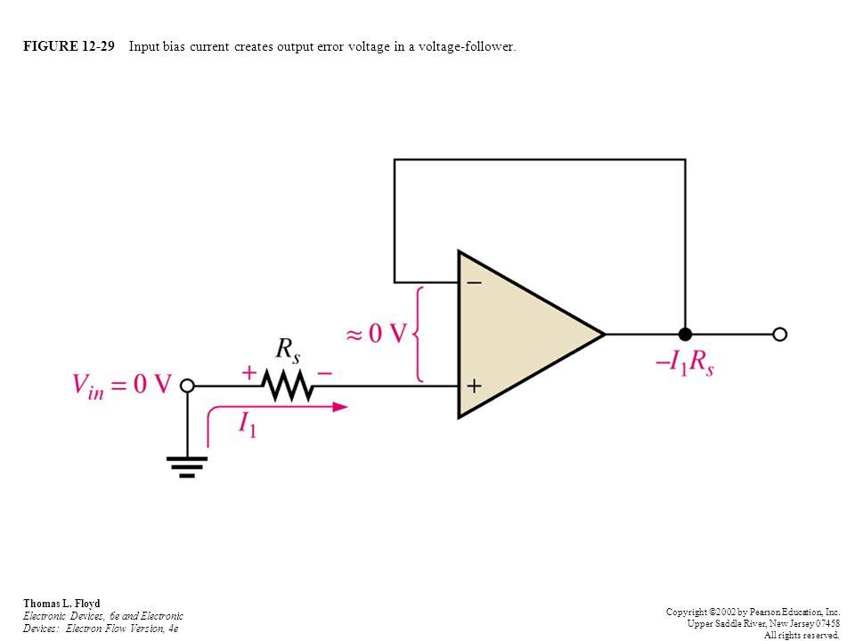 FIGURE 12-29 Input bias current creates output error voltage in a voltage-follower. Thomas L. Floyd Electronic Devices, 6e and Electronic Devices: Ele