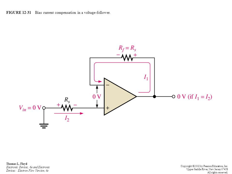 FIGURE 12-31 Bias current compensation in a voltage-follower. Thomas L. Floyd Electronic Devices, 6e and Electronic Devices: Electron Flow Version, 4e