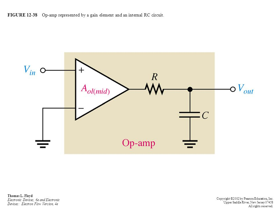 FIGURE 12-38 Op-amp represented by a gain element and an internal RC circuit. Thomas L. Floyd Electronic Devices, 6e and Electronic Devices: Electron