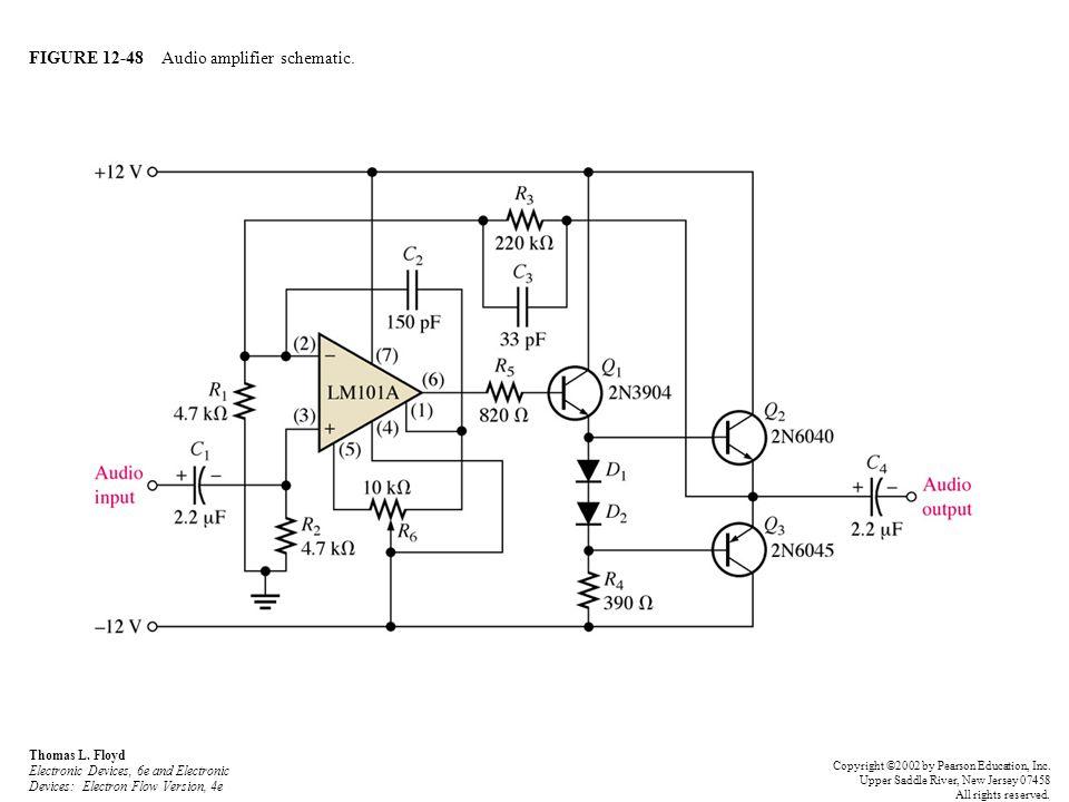 FIGURE 12-48 Audio amplifier schematic. Thomas L. Floyd Electronic Devices, 6e and Electronic Devices: Electron Flow Version, 4e Copyright ©2002 by Pe